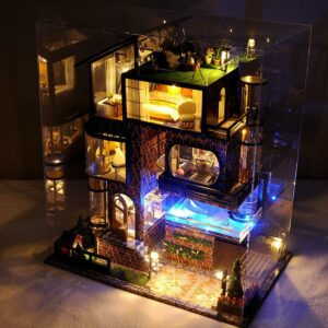 Assemble Diy Doll House Toy Wooden Miniatura Doll Houses Miniature Dollhouse Toys With Furniture Led Lights 1
