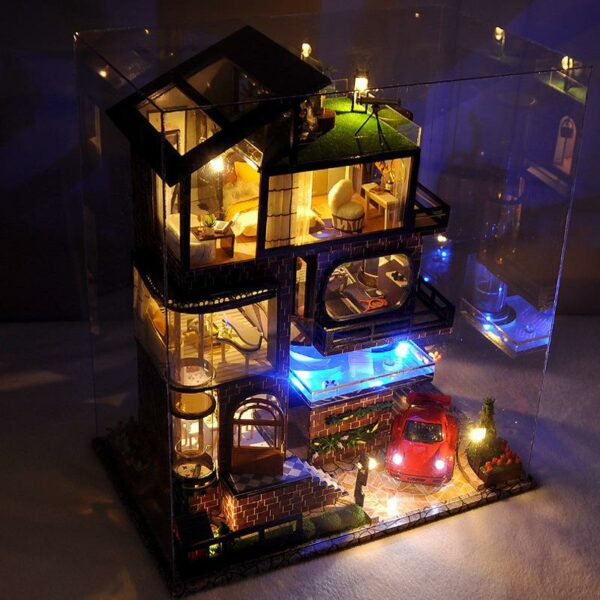 Assemble Diy Doll House Toy Wooden Miniatura Doll Houses Miniature Dollhouse Toys With Furniture Led Lights 2