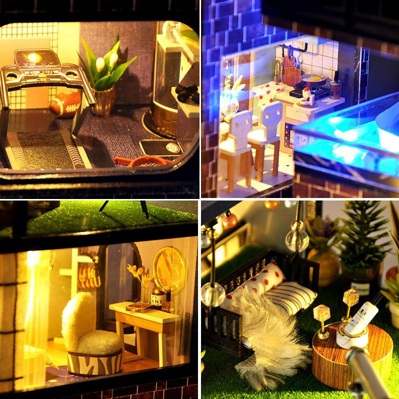 Assemble Diy Doll House Toy Wooden Miniatura Doll Houses Miniature Dollhouse Toys With Furniture Led Lights 3