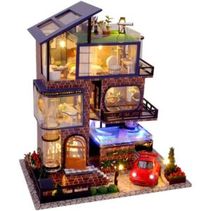 Assemble Diy Doll House Toy Wooden Miniatura Doll Houses Miniature Dollhouse Toys With Furniture Led Lights