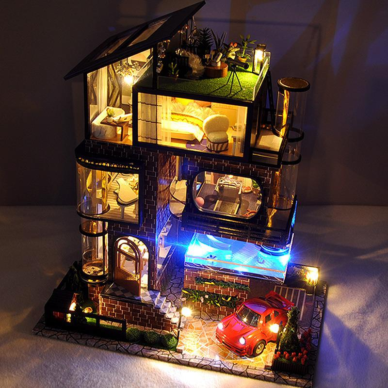 Assemble Diy Doll House Toy Wooden Miniatura Doll Houses Miniature Dollhouse Toys With Furniture Led Lights 4