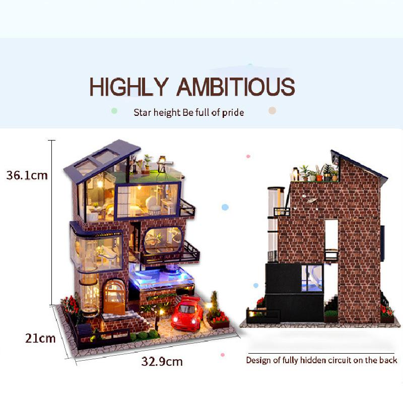 Assemble Diy Doll House Toy Wooden Miniatura Doll Houses Miniature Dollhouse Toys With Furniture Led Lights 5
